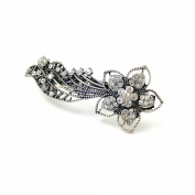 9 cm Vintage/Antique Style Silver Effect Finish Diamante / Crystal Studded Flower with Trails Hair Barrette/ Hair Clip