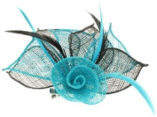 Glitz4Girlz Turquoise/Black Flower Fascinator Clip