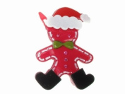 Glitz4Girlz Fuchsia Santa Gingerbread Man Hair Clip