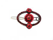 Johnny Loves Rosie Vintage Style Oval Monte Hair Clip Red