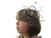 Glitz4Girlz Taupe Brown Crystal Cluster Flower Comb