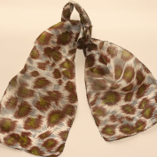 Brown Green Grey Leopard Spot Animal Print Indian Silk Scarf