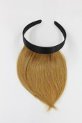 Hair Piece Clip in Bangs Fringe with hair circlet HIGH QUALITY synthetic fibre DARK BLOND platinum HA073T-25
