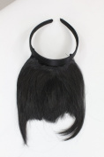 Hair Piece Clip in Bangs Fringe with hair circlet long framing strands HIGH QUALITY synthetic fibre BLACK HA071T-1B