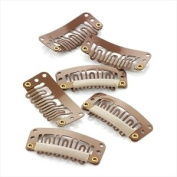 36 x Brown Hair Extension Clips/ Weft Clips - 32 mm