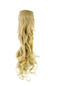 Hairpiece PONYTAIL (comb & ribbon wrap-around system) extension pigtail very long (60cm ) slightly CURLED wavy BRIGHT BLOND YZF-1094HT-88