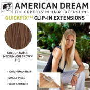 American Dream Quick-Fix Clip In Hair Extensions - 100% Human Hair Colour 10 - Medium Ash Brown