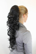 Hairpiece PONYTAIL extension VERY long AMAZING volume BLACK slightly curly curls WK08-1B