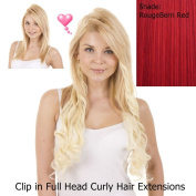 Vibrant Red Curly 46cm Clip in Full Head Hair Extensions | Pack of 10 Curly Clip in Extensions |