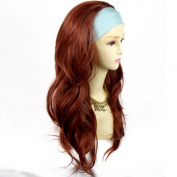 Sexy Copper Red Pretty Long 3/4 Fall Wig Hairpiece Wavy Layered Hair Ladies wigs from WIWIGS UK