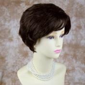 Classic 100% Human Hair Dark Brown mix Short Wig Wavy Full Ladies Wigs Wiwigs UK