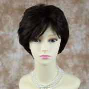 Natural 100% Human Hair Dark Off Black Wig Short Wavy Full Ladies Wigs Wiwigs UK