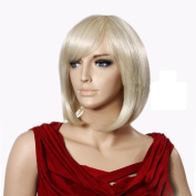 CoolShort Bob Gold Natural Straight Full fringe bangs hairstyle
