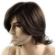 CoolMedium Length Dark Brown Slight Curly Wave side swept fringe bang hairstyle Hair Style Men Wig