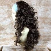 Dark Coffee Brown 3/4 Fall Hairpiece Long Curly Layered Half Wig Hair Piece