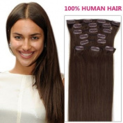 supermodel 46cm DARK BROWN (Col 2). Full Head Clip in Human Hair Extensions. High quality Remy Hair!. 100g Weight