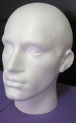 POLYSTYRENE WHITE MALE DISPLAY HEAD MANNEQUIN FOR WIG