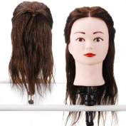 15'' 100% Real Human Hair _ Dark Brown #4 , Female Barber Hairdresser Hair Hairdressing Hair Cutting Student Practise Training Head Doll Mannequin , with Clamp Holder