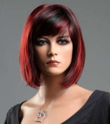 Forever Young Ladies Short Black Red Blend Wig! Classy Bob Style from Premium VOGUE Wigs UK