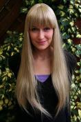 ICE PRINCESS medium BLOND blonde long straight QUALITY Lady WIG Cosplay fringe