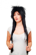 HAIR METAL stunning 80ies Style Quality WIG mullet BLACK very long 80 cm 9666-1B gothic punk glam rock visual kei