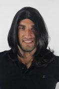 Men's WIG (for Men or Unisex) HIGH QUALITY synthetic BLACK longer hair long parting VERY INDIE youthful young look GFW891-1B Man