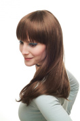 Lady Quality Wig sexy prominent fringe bangs LONG straight light brown brunette & red strands 3268-18/350