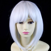 NEW Bob Style Skin Top Pure Snowy White Ladies Wigs with fringe Cosplay Wig UK
