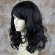 Stunning Heat Resistant Curly Medium Wig Black Brown Skin Top Ladies Wigs UK #2
