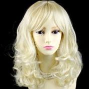 Stunning Heat Resistant Curly Medium Wig Vanilla Blonde Skin Top Ladies Wigs UK #2