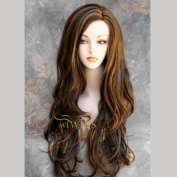 Fabulous Long Layers Wavy BROWN mix Ladies Wigs Skin Top WIWIGS UK