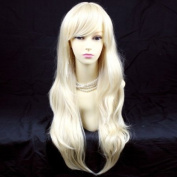 Stunning Heat Resistant XXX Long Wavy Pale Blonde Ladies Wigs Skin top BANGS UK