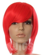 SHORT BRIGHT FIRE RED WIG COSPLAY ANIME STYLE BOB WIGS