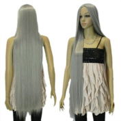 Yazilind Women's Extra Long Silver Grey Straight Hair Cosplay Wig