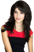 Annabelle's Wigs A Very Dark Brown, Long Layered, Tip Flip Wig