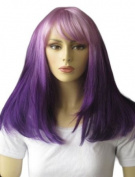 Annabelle's Wigs Dip Dye / Ombre Dark And Light Purple Long Bob Wig