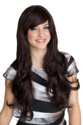 Annabelle's Wigs Extra Long Black Ladies Wig With Purple Undertones And A Side Sweeing Fringe