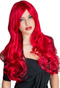 Annabelle's Wigs Extra Long, Bright Red Wig With A Side Parting And Big Loose Curls