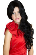 Black Wig, Extra Long, Side Parting With Big Loose Curls