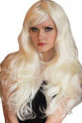 Platinum Blonde Wig With Very Loose Curls, Extra Long