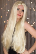 Extra Long, Poker Straight, Light Blonde Wig With No Fringe