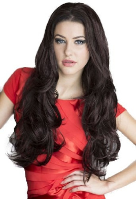 3/4 or Half Wig Hairpiece Extension, Black & Purple, Wavy: Indira 250g