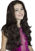 3/4 Wig Hairpiece Extension, Reddish-Dark Brown, Wavy