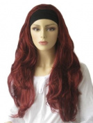 Red, Wavy 3/4 Or Half Wig Hairpiece Extension