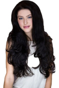 3/4 Hairpiece or Half Wig, Luxuriously Full And Curly Dark Brown