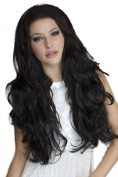 3/4 Wig Hairpiece Extension, Luxuriously Full And Curly Black, Loose Curled