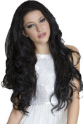 Luxurious Full And Extra Long Wavy Black 3/4 Or Half Wig Hairpiece Extension