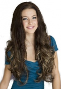 Luxuriously Full And Curly Three Toned Brown / Blonde Half Wig Hairpiece Extension
