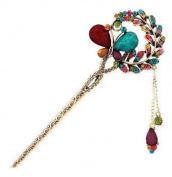 . Colourful Fashion Butterfly Flower Leaves Crystal brass Hair Clips Hairpin For Hair Beauty Tools