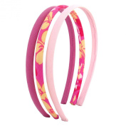 Three piece head band set, pink theme with yellow flowers perfect for girls cute hair accessories